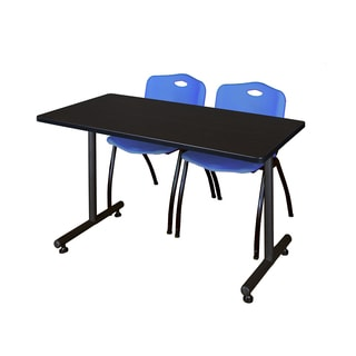 Kobe Blue/Black Wood/Metal/Laminate Training Table with 2 Stackable Chairs