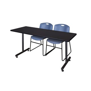 Regency Seating Kobe Black 66-inch x 24-inch Training Table and 2 Blue Zeng Stack Chairs