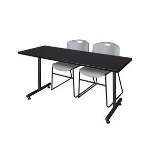 Regency Seating Kobe Grey Powder-coated Finish 72-inch x 24-inch Training Table and 2 Zeng Stack Chairs
