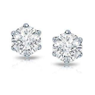 Auriya 14k Gold 2ct TDW 6-Prong Screw-Back Round Diamond Stud Earrings