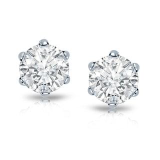 Auriya 14k Gold 2ct TDW 6-Prong Screw-Back Round Diamond Stud Earrings (I-J, I1-I2)