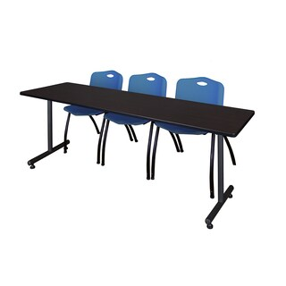 Regency Seating Kobe Blue 84-inch x 24-inch Training Table and 3 'M' Stack Chairs