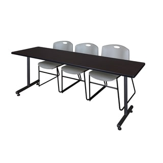 Regency Seating Kobe Grey 84-inch Training Table and 3 Zeng Stack Chairs