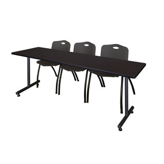 Regency Seating Kobe Black 84-inch Training Table and 3 Stackable Chairs