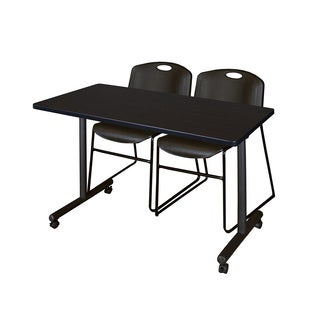 Kobe 42-inch x 24-inch Black Mobile Training Table and 2 Zeng Stack Chairs