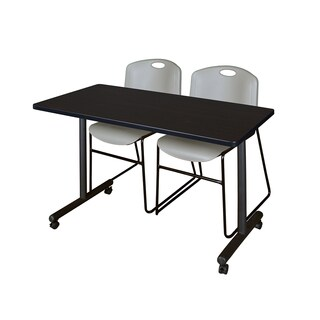 Kobe 42-inch x 24-inch Mobile Training Table with 2 Grey Zeng Stack Chairs