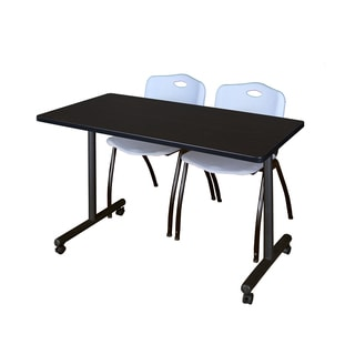 Kobe Grey 48-inch x 24inch Mobile Training Table and 2 'M' Stack Chairs