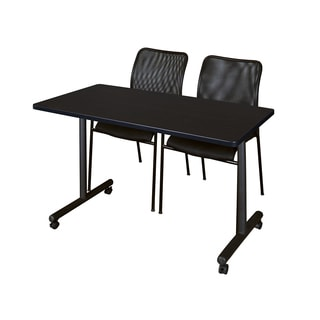 Regency Seating Kobe Black Wood/Laminate/Metal 48-inch x 24-inch Mobile Training Table and 2 Mario Stack Chairs