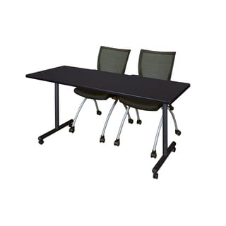 Regency Seating Kobe 60-inch Mobile Training Table and 2 Apprentice Black Chairs