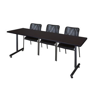 Regency Seating Kobe 84-inch Wide x 24-inch Deep Training Table and 3 Mario Black Stack Chairs