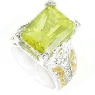 One-of-a-kind Michael Valitutti Lemon Quartz and White Sapphire Cocktail Ring