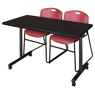 Kobe 42-inch x 24-inch Mobile Training Table with 2 Burgundy Zeng Stack Chairs