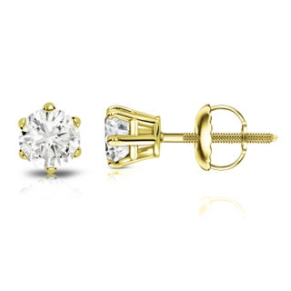 Auriya 14k Gold 3/4ct TDW Round 6-Prong Diamond Solitaire Stud Earrings (3 options available)
