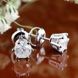 Auriya 14k Gold 3/4ct TDW 6 Prong Screw-Back Round Diamond Stud Earrings|https://ak1.ostkcdn.com/images/products/12613575/P19407740.jpg?impolicy=medium