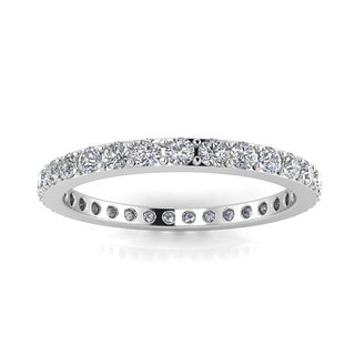 Round Brilliant Cut Diamond Pave Set Eternity Ring In 14k White Gold - Ring Sizes 4-9 with 2.5MM Diamonds