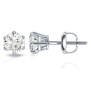 Auriya 14k Gold 1 1/2ct TDW 6-Prong Screw-Back Round Diamond Stud Earrings (J-K, I2-I3)