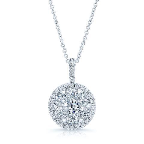 Diamond Pave Halo Pendant In 14k White Gold 1.80ctw