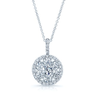 Diamond Pave Halo Pendant In 14k White Gold 1.80ctw
