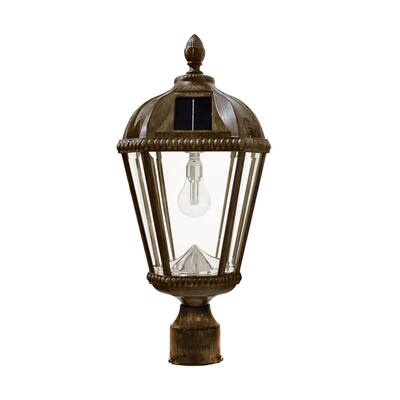 Gama Sonic Royal Bulb Solar Lamp with GS Solar LED Light Bulb - 3 Inch Fitter Mount - Weathered Bronze Finish