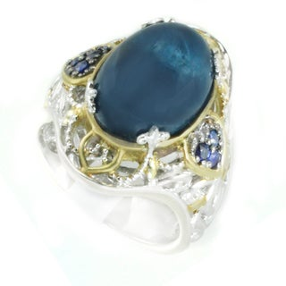 One-of-a-kind Michael Valitutti Opaque Apatite with Blue Sapphire Cocktail Ring