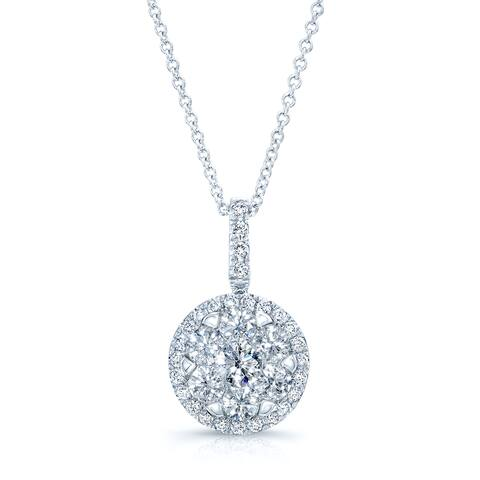 Diamond Pave Halo Pendant In 14k White Gold 1.10ctw