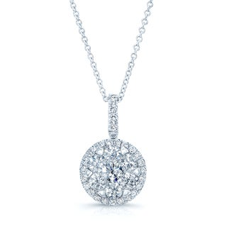 Diamond Pave Halo Pendant In 14k White Gold 1.10ctw