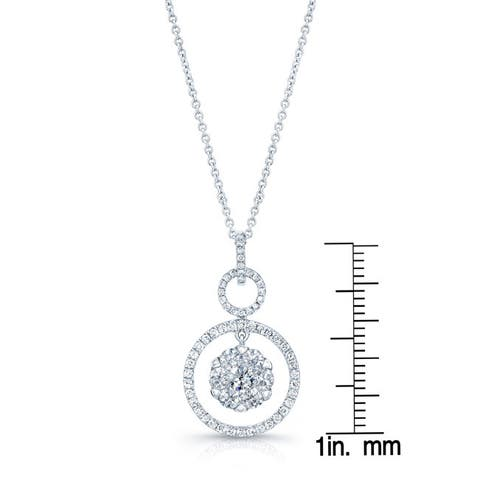 Diamond Hanging Circles Pendant In 14k White Gold