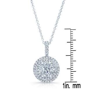 14k White Gold 0.85ct TDW Diamond Double Entourage Pendant