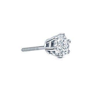 Auriya 14k Gold 1/4ct TDW 6-Prong Screw-Back Round Diamond Single Stud Earring (H-I, SI1-SI2)