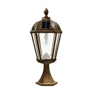 Gama Sonic Weathered Bronze Royal Post Mount Solar Light With GS Solar Light Bulb