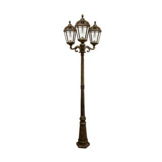 Gama Sonic Weathered Bronze Triple-head Royal Solar Lamp Post with GS Solar Light Bulb