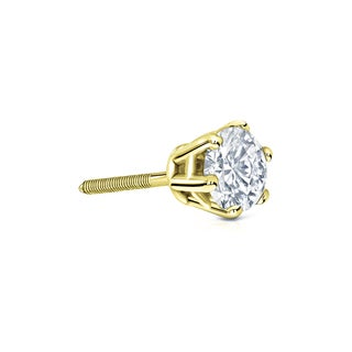 Auriya 14k Gold 1/3ct TDW 6-Prong Screw-Back Round Diamond Single Stud Earring (H-I, SI1-SI2)