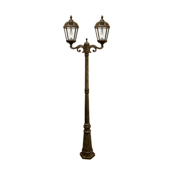 gama sonic weathered bronze double head royal solar lamp. Black Bedroom Furniture Sets. Home Design Ideas