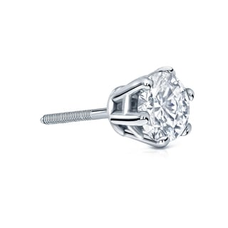 Auriya 14k Gold 1ct TDW 6-Prong Screw-Back Round Diamond Single Stud Earring (H-I, SI1-SI2)