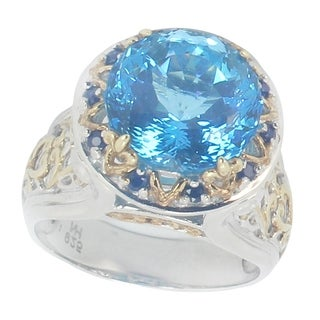 One-of-a-kind Michael Valitutti Ceylon Blue Topaz and Blue Sapphire Cocktail Ring
