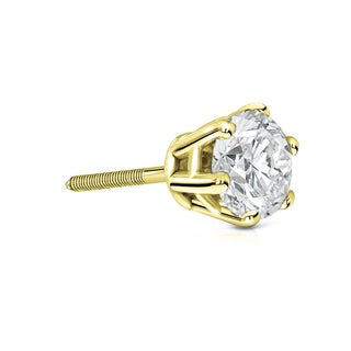 Auriya 14k Gold 1ct TDW 6-Prong Screw-Back Round Diamond Single Stud Earring (I-J, SI2-SI3)
