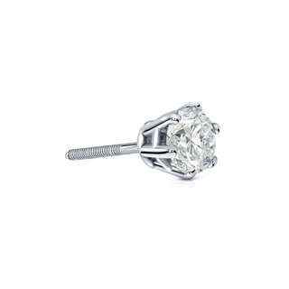 Auriya 14k Gold 1/4ct TDW 6-Prong Screw-Back Round Diamond Single Stud Earring (I-J, I1-I2)