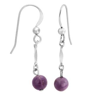 Sterling Silver Amethyst Bead Earrings