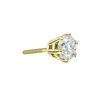 Auriya 14k Gold 1/3ct TDW 6-Prong Screw-Back Round Diamond Single Stud Earring (I-J, I1-I2)