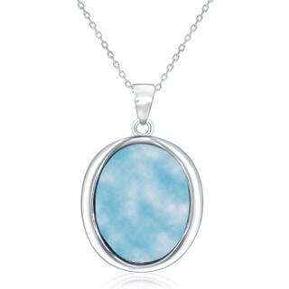 La Preciosa Sterling Silver Natural Larimar Oval Pendant