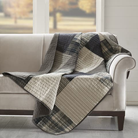 Woolrich Winter hills Tan Cotton Thread Count Printed Quilted Throw