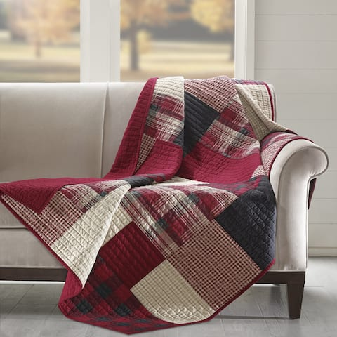 Woolrich Sunset Red Cotton Thread Count Printed Quilted Throw
