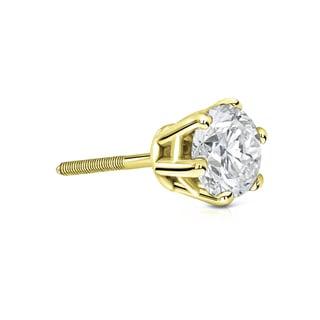 Auriya 14k Gold 3/4ct TDW 6-Prong Screw-Back Round Diamond Single Stud Earring (I-J, I1-I2)