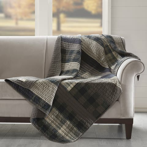 Woolrich Winter Plains Taupe Cotton Thread Count Printed Pieced Quilted Throw