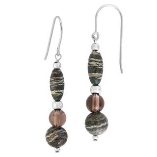 Sterling Silver Smokey Quartz and Serpentine Earrings