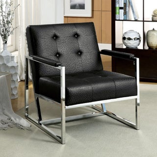 Furniture of America Wilde Contemporary Button Tufted Ostrich Leatherette Arm Chair