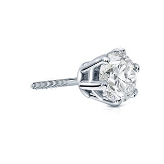 Auriya 14k Gold 1ct TDW 6-Prong Screw-Back Round Diamond Single Stud Earring (I-J, I1-I2)