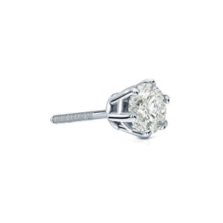Auriya 14k Gold 1/4ct TDW 6-Prong Screw-Back Round Diamond Single Stud Earring (J-K, I2-I3)