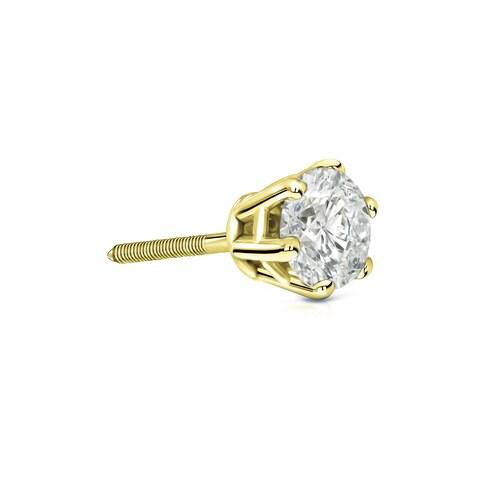 Auriya 14k Gold 1/3ct TDW Round 6-Prong SINGLE STUD (1) Diamond Earring