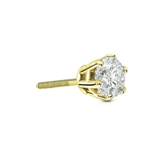Auriya 14k Gold 1/3ct TDW 6-Prong Screw-Back Round Diamond Single Stud Earring (J-K, I2-I3)